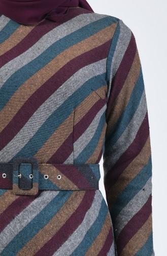 Kemerli Kışlık Elbise 5013B-03 Petrol Bordo