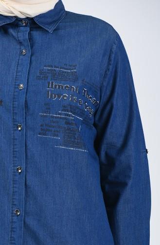 Büyük Beden Yazı Desenli Kot Tunik 2008-01 Lacivert