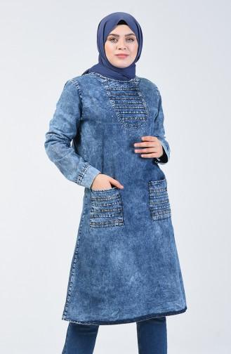 Taşlı Kot Tunik 2255-01 Kot Mavi 2255-01