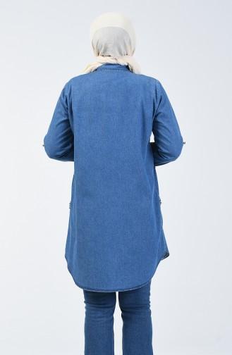 Büyük Beden Taşlı Kot Tunik 2279-01 Kot Mavi