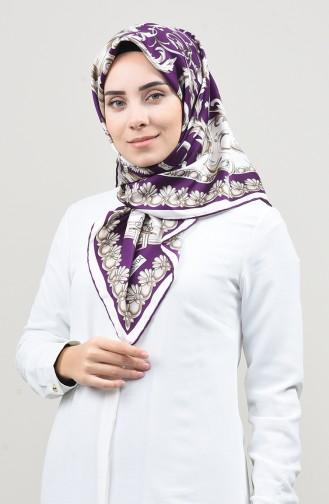 وشاح قطني منسوج منقوش بنفسجي 2454-02