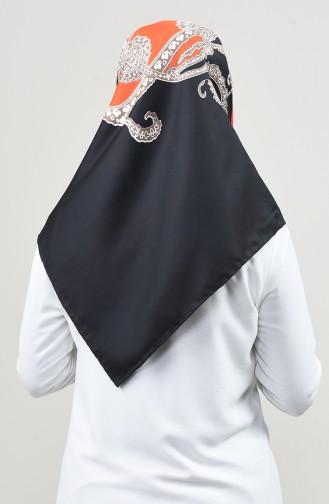 Desenli Twill Eşarp 2454-27 Turuncu Siyah