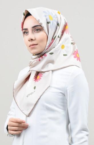 وشاح نسيج قطني منقوش حجري وبيج فاتح 2456-09