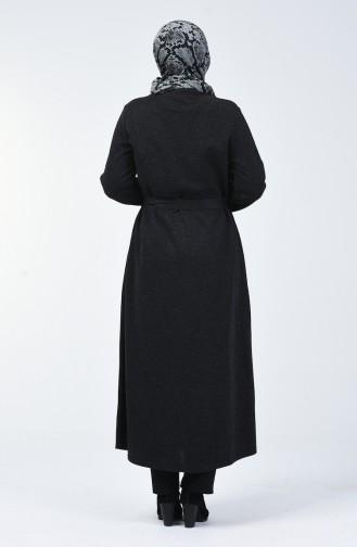 Büyük Beden Deri Detaylı Fermuarlı Ferace 0697-01 Siyah
