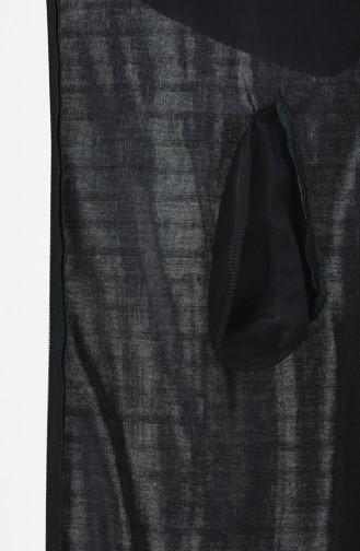 Abaya Grande Taille à Fermeture Détail Cuir 0697-06 Vert 0697-06