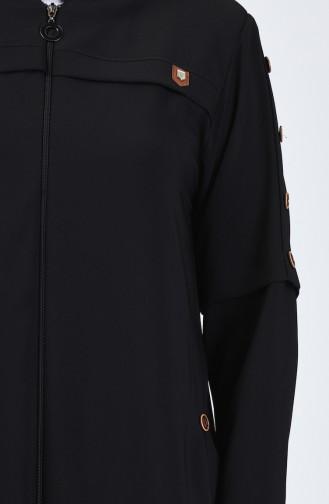 Büyük Beden Düğme Detaylı Ferace 5035-01 Siyah