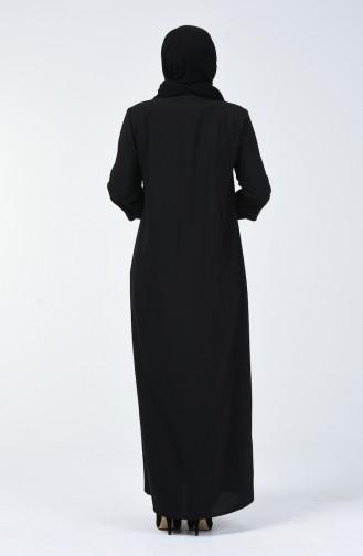 Büyük Beden Fermuar Detaylı Ferace 5040-01 Siyah