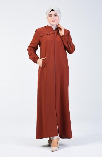 Abaya à Fermeture Grande Taille 5040-03 Tabac 5040-03