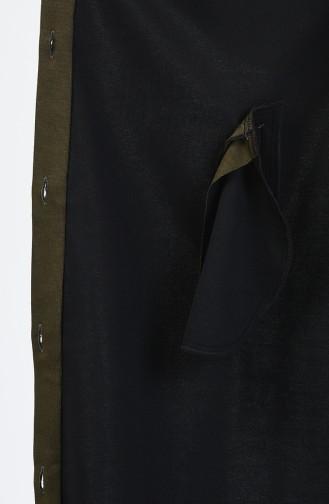 Büyük Beden Düğme Detaylı Kap 5023-01 Haki