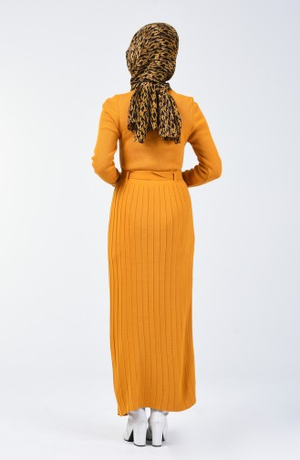 Tricot Button Detailed Dress Mustard 2205-04