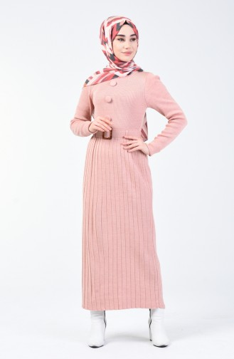 Tricot Button Detailed Dress Powder 2205-05