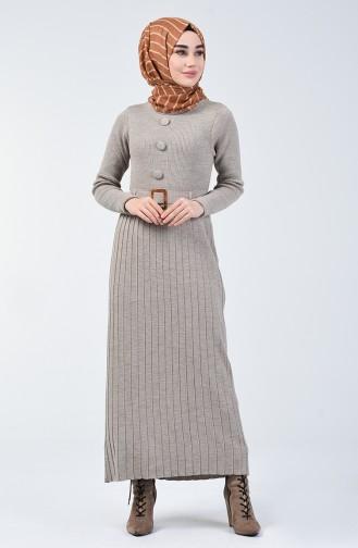 Tricot Button Detailed Dress Beige 2205-08