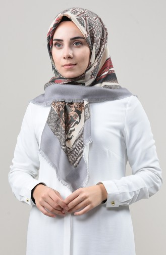 Dijital Baskılı Dubai Kaşmir Eşarp 901592-03 Gri