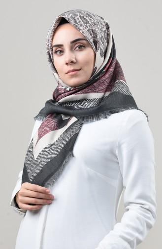 Dijital Baskılı Dubai Kaşmir Eşarp 901592-06 Antrasit