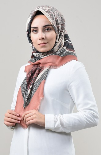 Dijital Baskılı Dubai Kaşmir Eşarp 901592-08 Soğan Kabuğu