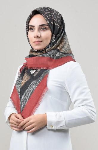 Dijital Baskılı Dubai Kaşmir Eşarp 901592-15 Kiremit