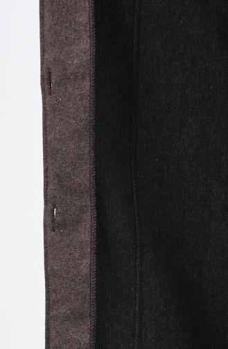 معطف جوخ مزين بالفرو بني مائل للرمادي داكن 5114-05