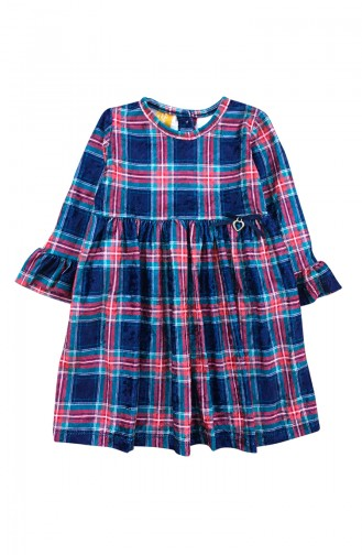 Kız Çocuk Kadife Elbise F0934 Lacivert