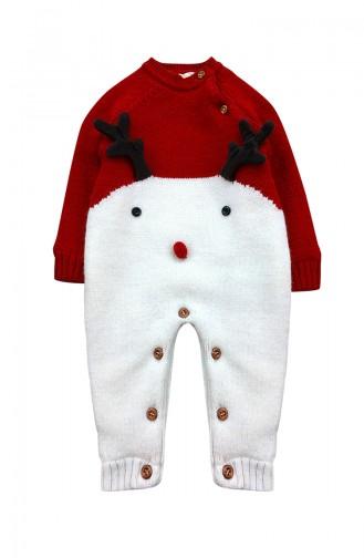 Unısex Bebek İçi Polarlı Triko Tulum F0953 Kırmızı