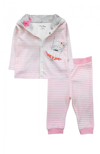 Kız Bebek Sweatshırt Pantolon Takım F0961 Pembe