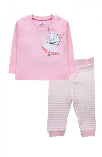 Kız Bebek Tshırt Pantolon Takım F0962 Pembe 0962