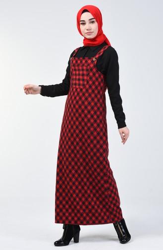 Cepli Kışlık Jile Elbise 1037-02 Kırmızı