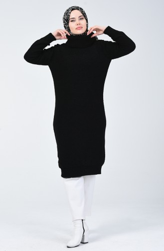 Triko Boğazlı Uzun Kazak 4198-06 Siyah 4198-06