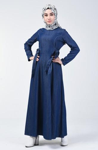 Kuşaklı Kot Elbise 5292-02 Lacivert