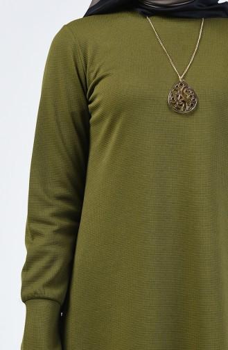 Kolyeli Elbise 0025-07 Açık Haki Yeşil