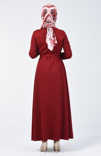فستان سادة بتصميم مخصر لون الاحمر الغامق  0028-05