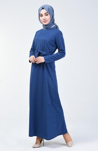 Kuşaklı Düz Elbise 0028-06 İndigo