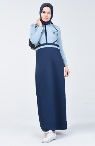 Garnili Fermuarlı Spor Elbise 09050-01 Lacivert