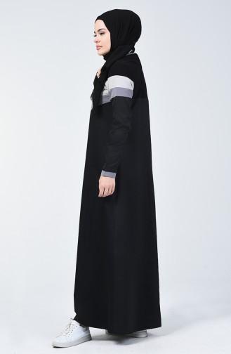 Fermuar Detaylı Spor Elbise 09059-01 Siyah