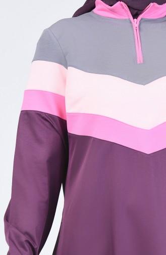 Fermuar Detaylı Spor Elbise 09059-02 Mürdüm