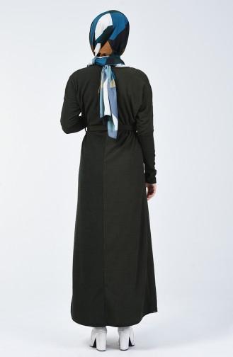 Fitilli Kuşaklı Elbise 5306-02 Yeşil