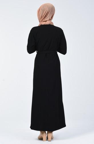Fitilli Kuşaklı Elbise 5306-04 Siyah