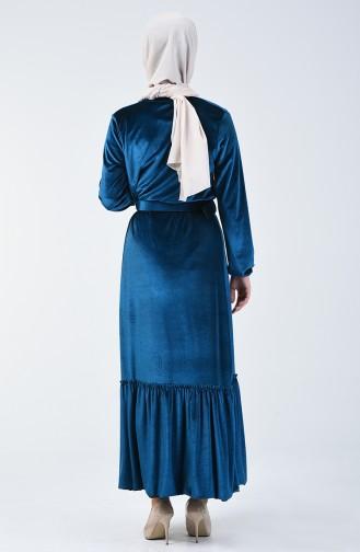 Kemerli Kadife Elbise 5557-08 Petrol Mavisi