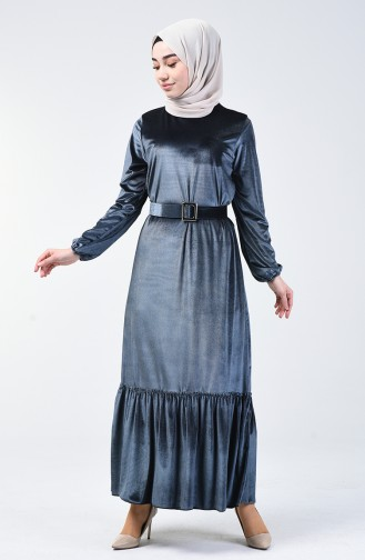 Kemerli Kadife Elbise 5557-09 Gri