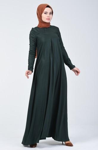 Pile Detaylı Yün Viskon Elbise 3139-02 Zümrüt Yeşili