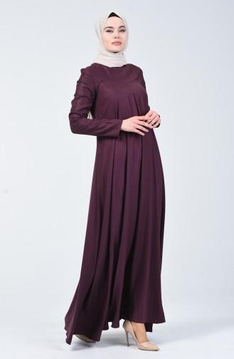 Pile Detaylı Yün Viskon Elbise 3139-03 Mürdüm