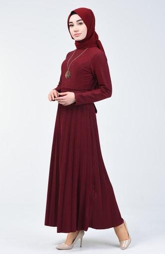 Piliseli Elbise 5115-02 Bordo