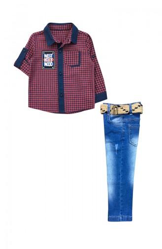 Erkek Çocuk Gömlek Pantolon Takım F0171 Bordo 0171