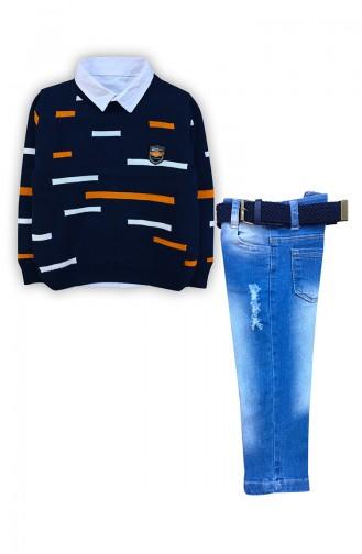 Erkek Çocuk Triko Kazak Pantolon Takım F0750 Lacivert 0750