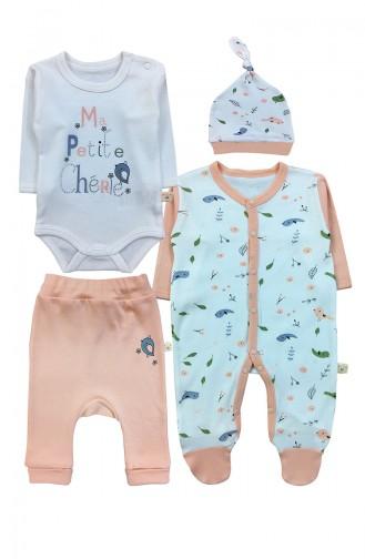 Kız Bebek Body Pantolon Tulum Ve Şapka Takım F0906 Somon 0906