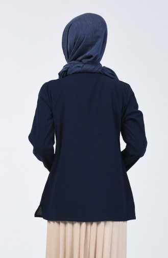 Nakışlı Şile Bezi Bluz 0011-04 Lacivert 0011-04