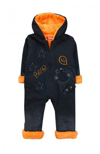 Baby Welsoft-ausführlicher Jeans Overall F0689 Schwarz Orange 0689