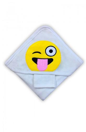 Unisex Bebek Emojili Havlu F0693 Beyaz
