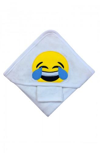 Unisex Bebek Emojili Havlu F0695 Beyaz