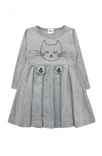 Kız Çocuk Penye Elbise E0732 Gri