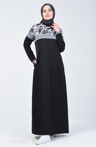 Desenli Spor Elbise 09060-01 Siyah
